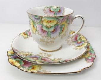 Royal Standard Teacup, Saucer, and Plate Trio - Art Deco Floral Pattern - Vintage Tea Time