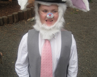 Upcycled Clothing White Rabbit Headpiece, Alice in Wonderland, White Fun Fur Hood, Handmade Costume Accessory, Includes Black Top Hat