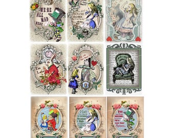small Alice in Wonderland  images 9 cards   instant download  printable digital collage sheet   digital download clip art