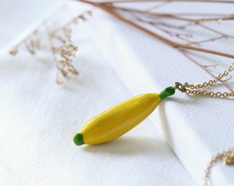 Color Banana Necklace / Painted Banana Charm / Linen Jewerly