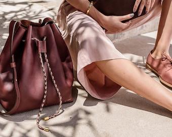Brown Leather Bucket Bag with Drawstring, Brown Leather Bag. Shoulder Bag, Cross Body Bag, Minimalist Leather Bag, Medium Brown Bag, Olmo