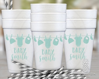 Clothesline Baby Shower | Customizable Party Foam Cups | social graces and co