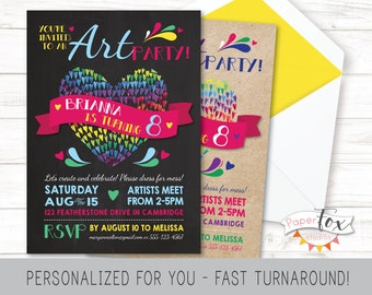 Art Party Invitation, Art Birthday Invitation, Art Birthday Party Invitation, Art Party Invite, Painting Party Invitation, Paint, PRINTABLE
