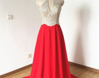 Halter Red Chiffon Long Prom Dress with Sheer Back