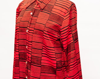 80s Vintage Red and Black Striped Long Sleeve Blouse Women's Large