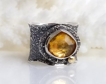 Golden Citrine Ring , Fused Ring, One of a kind, Handmade, Yellow stone, 14K Gold and Silver