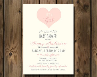 Girl Baby Shower Invitation, Baby Girl Shower Invitation, Heart Arrows and Pink_88