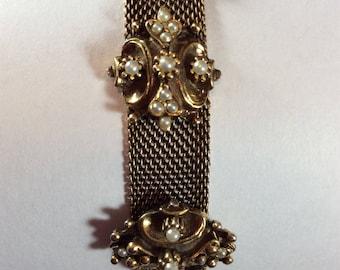 Vintage Gold Tone Mesh & Faux Pearl Bracelet ~ Antiqued Gold Tone Victorian Bracelet