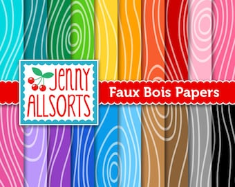Faux Bois Wood Grain Digital Scrapbook Paper Set - Rainbow Colors - for invites, card making, digital scrapbooking