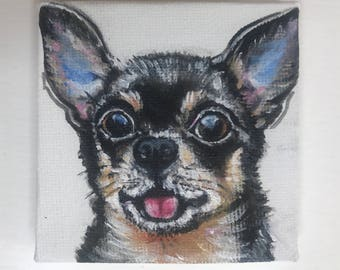 Cute Chihuahua miniature painting, Original acrylics handmade painting, dog portrait, super small painting size 7 x 7 cm  (2.75 x 2.75 inch)