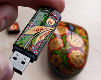 Gift USB Flash Drive (USB 2.0, 8 Gb, miniature hand painted Khokhloma, acrylic lacquer)