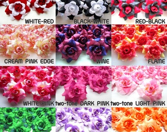 100 mini Silk Roses Heads - Artificial Silk Flower - 1.75 inches - Wholesale Lot - for Wedding Work, Make Hair clips, headbands