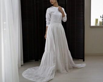 long sleeve wedding dress,2 piece wedding dress,boho wedding dress,wedding separates,simple wedding dress,casual wedding dress