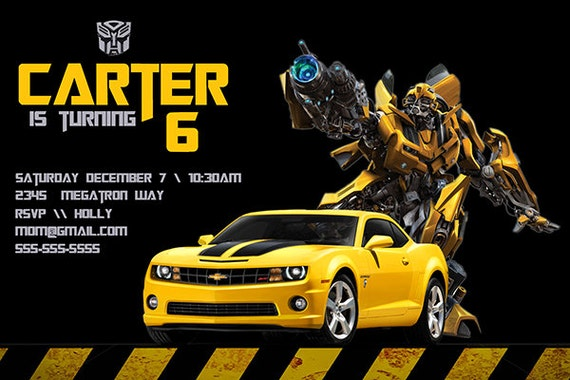 Transformers Birthday Invitation Personalized Birthday Party