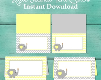 Gray and Yellow Chevron Baby Shower Table Cards. Tent cards. Food Cards. Place Cards. Little Peanut Baby Shower. Elephant Baby Shower.