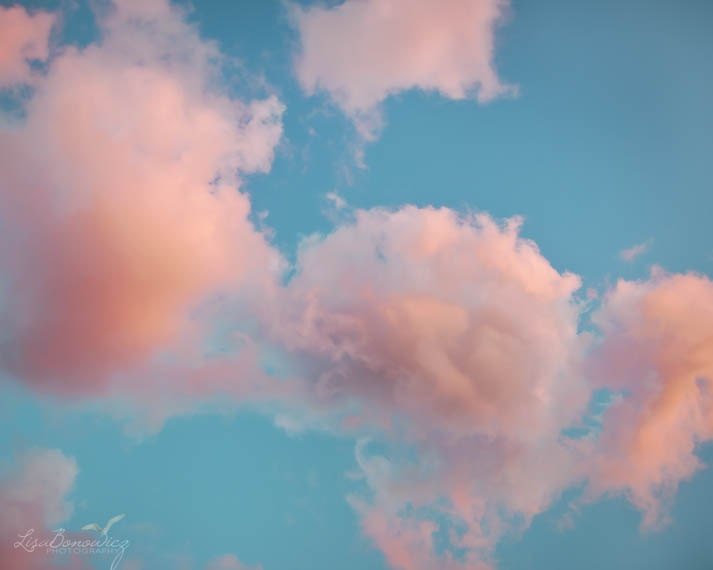 Cotton Candy Clouds Pink Teal Sky Photograph