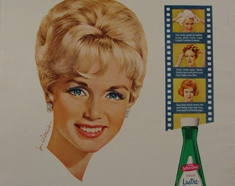 1963 Debbie Reynolds Lustre Creme Shampoo Ad ~ Jon Whitcomb Artwork ~ My Six Loves Movie Promo
