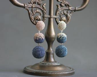 Bonbon earrings Beaded clip earrings Drop ball earrings les bonbons clip on earrings Black earrings Statement earrings Big dangle earrings