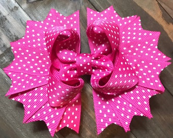 Pink with white polka dots hair bow