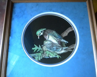 SALE Sharon Wald Scratchboard Bird Picture, Framed and Matted, 1985