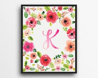 Monogram Letter K Print | Floral Wreath Monogram | Initial Print | Watercolor Floral Print | Digital Download