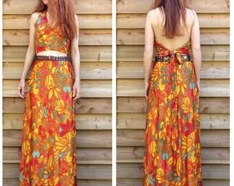 1970s French VTG fabulous Lamé combo halter top / maxi skirt