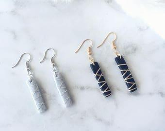 Stick Earrings/ Polymer Clay Earrings/ Marble Style Earrings/ Bar Earrings / Handmade Earrings
