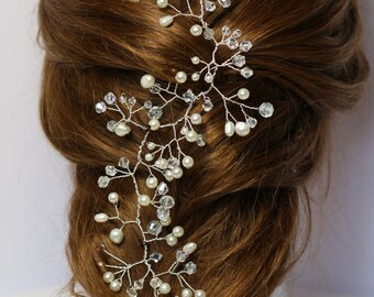 Bridal hair vine, pearl and crystal hair vine,  hair vine, boho bridal hair vine, hair jewellery, bridal adornment, Ivory hair vine, wedding