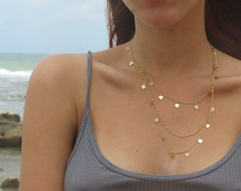 Multi chain heart necklace / gold layered necklace / layering jewelry / Valentines day gift / girlfriend gift