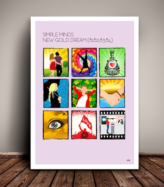 Simple Minds // New Gold Dream (81,82,83,84) Song Storyboard // Minimalist Poster // Unique Art Print
