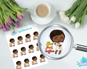 But First Cofffee XQuibi African American Planner Stickers / Black Girl Chibi Stickers