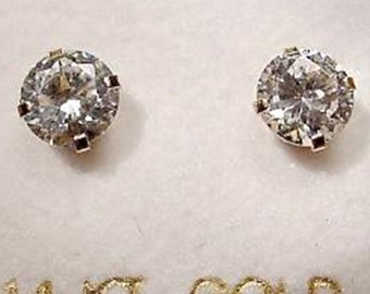 New 14K Gold/Dia 6mm Stud Earrings-Free Shipping!