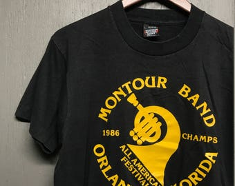 M vintage 80s 1986 Montour Marching Band t shirt * Robinson Township PA