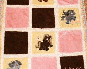 "Appliqued Pony Minky Baby blanket ""Adorable Ponies"""