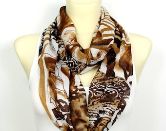 Infinity Scarf Brown Scarves for Women Spring Scarf Boho Infinity Scarfs for Women Inspirational Women Gift for Mom from Daughter from Son