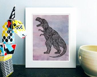 T Rex Tyrannosaurus Rex Printable Art, T-Rex Dinosaur Wall Art, T Rex Instant Download, Jurassic Park, Dinosaur Birthday, Play Room, 8x10