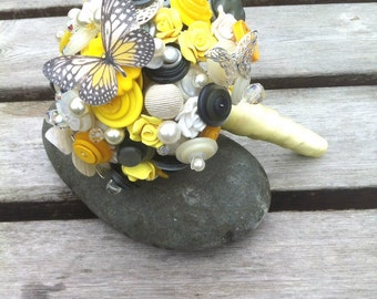 Button Bouquet - Yellow, Grey and White Butterfly Bouquet Alternative Keepsake Bouquet