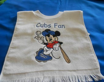 Mickey baseball Player Cubs Fan Embroidered  Bib
