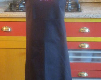 Apron Béarn embroidered 2 Bearn cows, cotton, very covering, one size