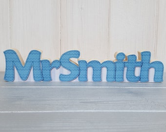 Personalised teacher name plate, Small freestanding wood decoupage desk name decoration, Handcrafted wooden teacher plaque gift
