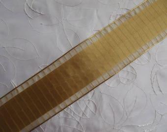 1 meter 66 armed 4 cm Golden taffeta Ribbon