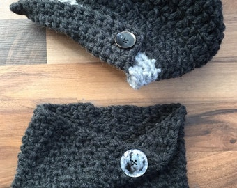 Slouchy Beret w/Matching Cowl Crocheted Black, Grey Photo Prop Hat Scarf Shawl