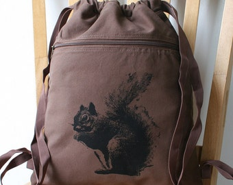 Squirrel Backpack Canvas Bag