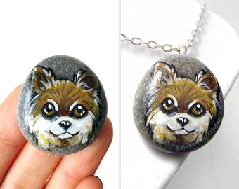 Chihuahua Art, Dog Necklace, Animal Lover Gift, Painted Pebble, Pet Jewelry, Beach Rock Art, Pet Memorial Stone, Original Painting, Keepsake