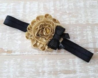 Gold and Black Baby Girl Headband - Gold Headband - Black Headband - Dressy Headband - Bow Headband - Fancy Headband - Newborn Headbands
