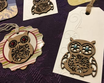 Owl gift tags - set of 5