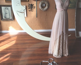 Peach Tulle Whimsical High/ Low Layered Lace and Chiffon Octopus Infinity Wrap Wedding, Bridal  Gown