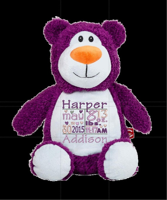 "Dark PURPLE bear Customize & personalize a 12"" embroidered, Christmas. Baby, wedding, birthday, shower, christening special event holiday"