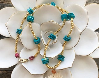 Carved Bone Lotus Necklace | Carnelian | Pyrite | Jasper | Bohemian | Gemstone | Zen Necklace