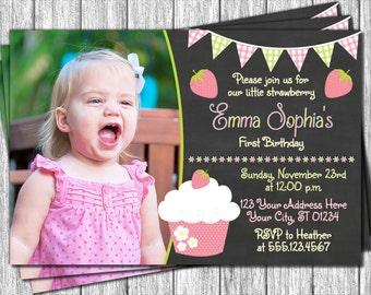 Strawberry Birthday Invitation - Strawberry Shortcake First Birthday Invitations - 1st Birthday